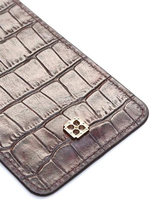 Kahverengi Krokodilli Kadın Deri İsim Kartlığı