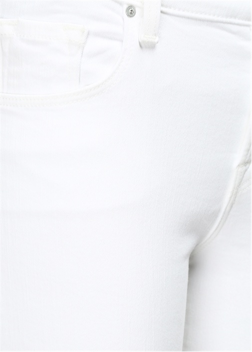 Beyaz Normal Bel Dar Paça Midi Pantolon