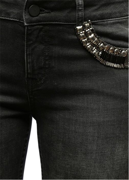 Antrasit Cepleri İşlemeli Skinny Jean Pantolon