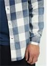 Comfort Fit Oxford Yaka Mavi Ekose Desenli Gömlek