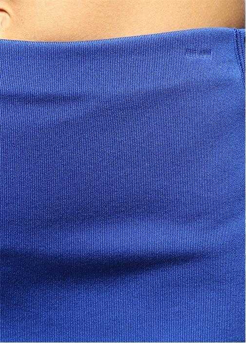 Midi Boy Yüksek Bel Mavi Triko Etek