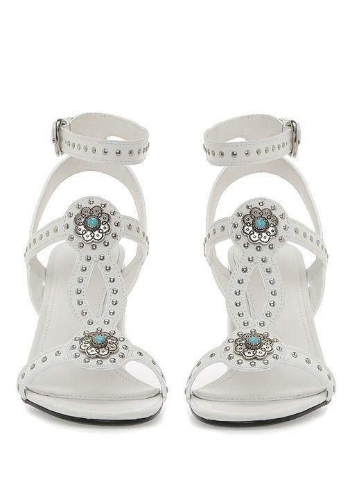 Beyaz Troklu Kadın Deri Sandalet