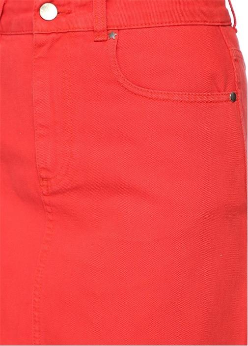 Kırmızı Mini Jean Etek