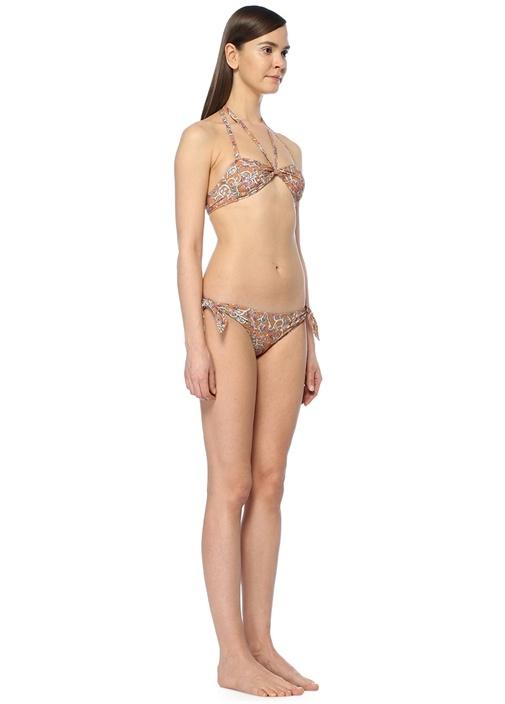 Turuncu Çiçekli Bikini Üstü
