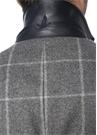 Gri Kelebek Yaka Ekoseli İç Yaka Detaylı Yün Palto