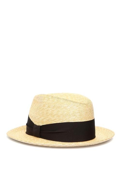 Bej Siyah Bantlı Erkek Hasır Şapka