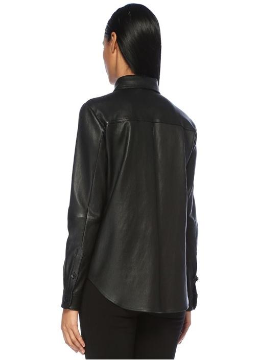 Siyah Dantel Garnili Deri Gömlek