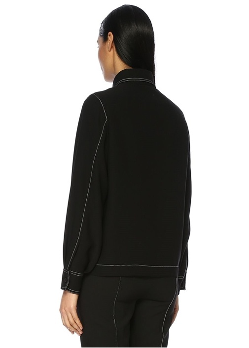 Siyah Polo Yaka Gömlek Formlu Krep Ceket