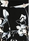 Siyah Çiçek Desenli Bol Paça Krep Pantolon