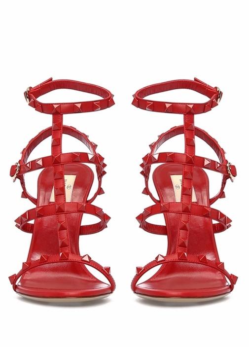 Kırmızı Rockstud Kadın Sandalet