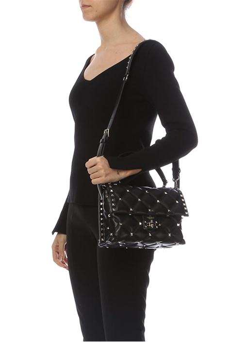 Rockstud Siyah Logolu Kadın Deri Çanta