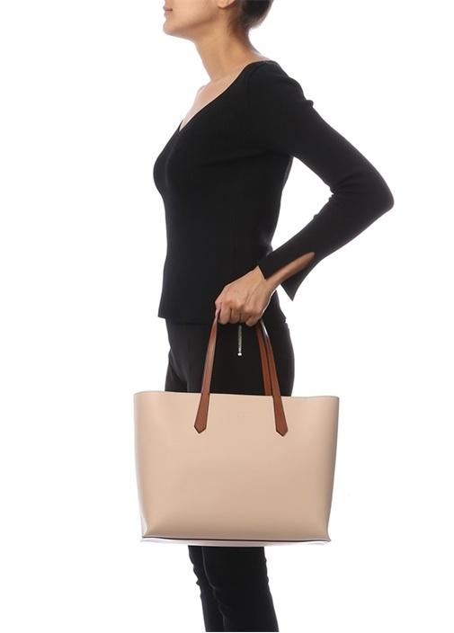Pudra Logolu Kadın Deri Çanta