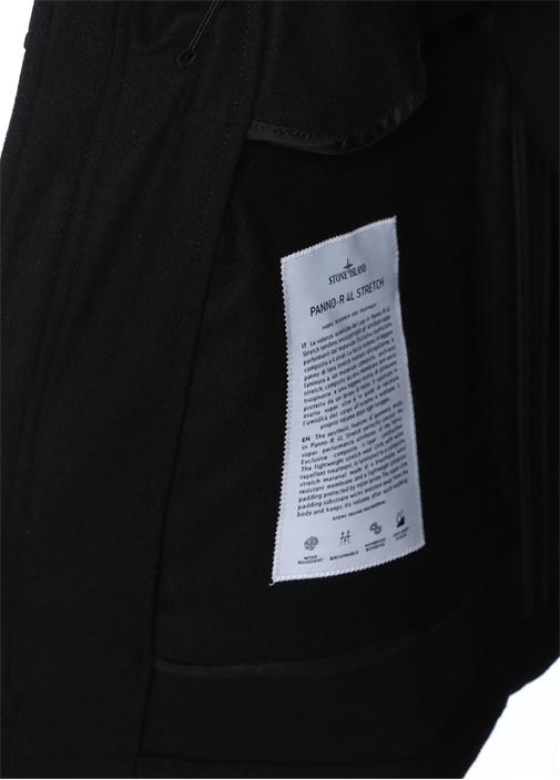 Siyah Kapüşonlu Yün Palto