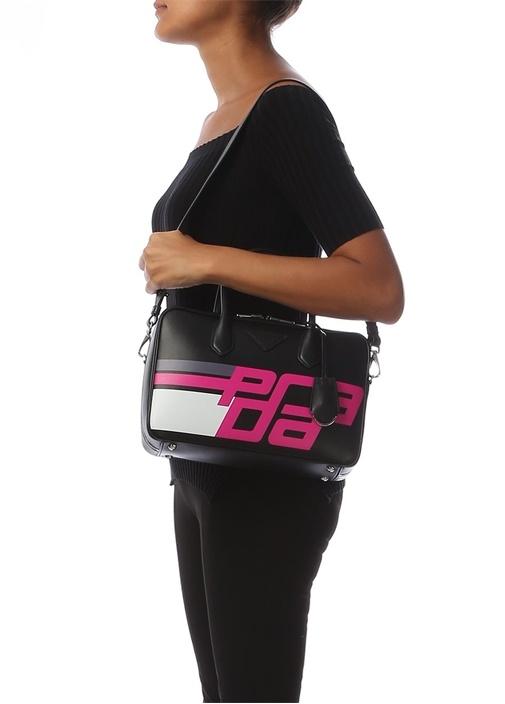 Siyah Logolu Kadın Deri Laptop Çantası