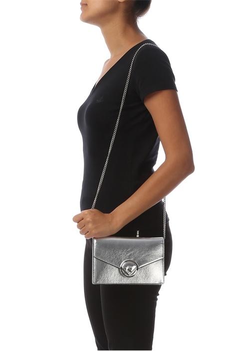 Metalik Silver Medium Kadın Deri Omuz Çantası