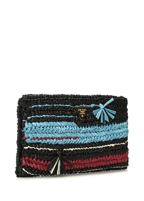 Siyah Mavi Logolu Hasır Örgü Dokulu Kadın Çanta