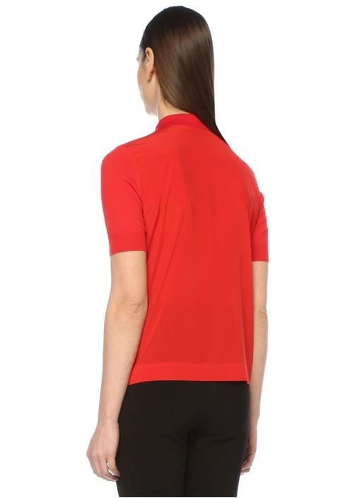 Kırmızı Polo Yaka İpek Garnili Yarım Kol Triko