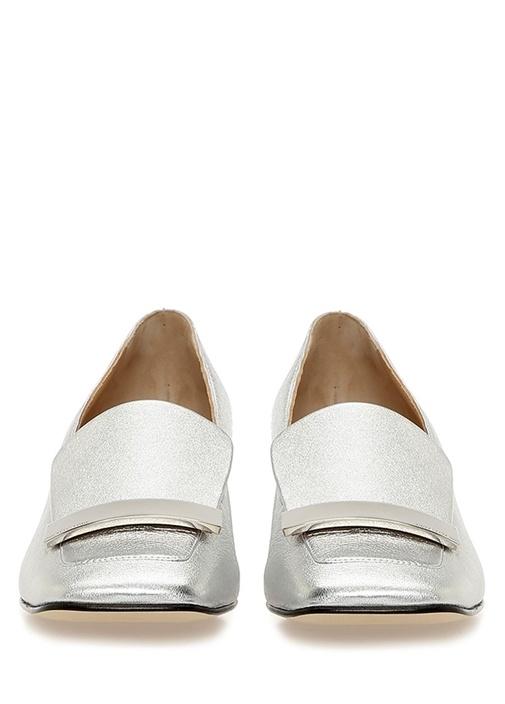 Metalik Silver Gold Plakalı Deri Topuklu Ayakkabı