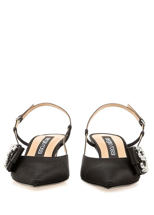 Icona Siyah Taşlı Logolu Kadın İpek Sandalet