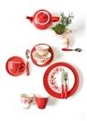 Fleur Kırmızı Motifli Porselen Latte Bardağı
