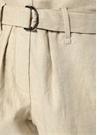 Bej Yüksek Bel Kemerli Bol Kesim Keten Pantolon