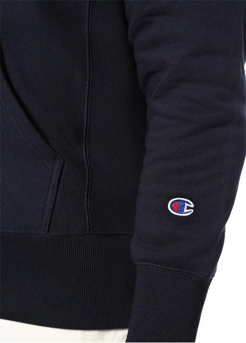 Lacivert Kapüşonlu Logolu Sweatshirt