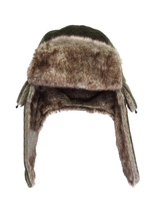 Haki Shearling Detaylı Kadın Şapka