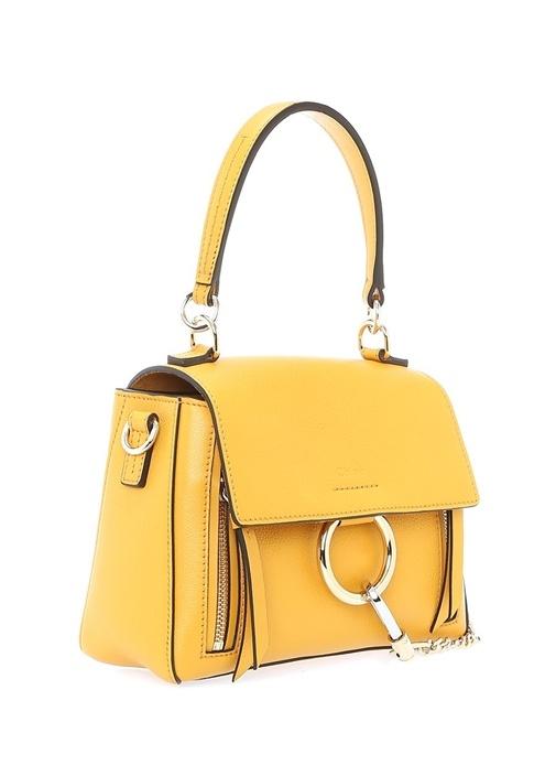 Faye Mini Sarı Körüklü Kadın Deri Çanta