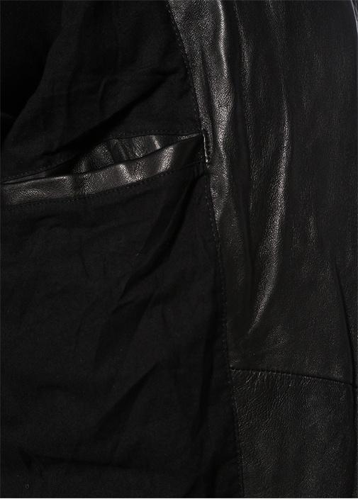 Sarls Siyah Kapitone Detaylı Deri Ceket