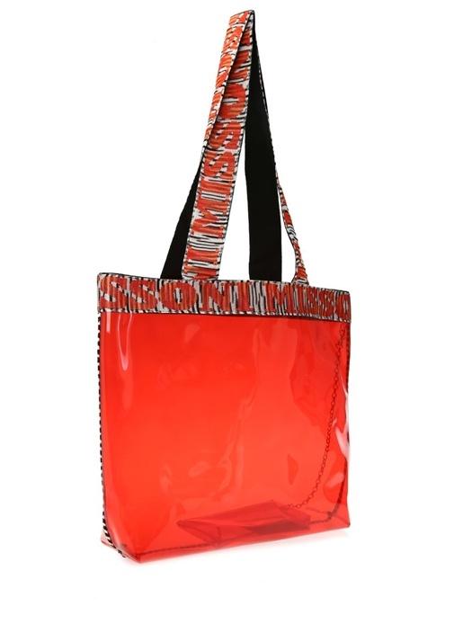Kırmızı Çizgili Transparan Alışveriş Çantası