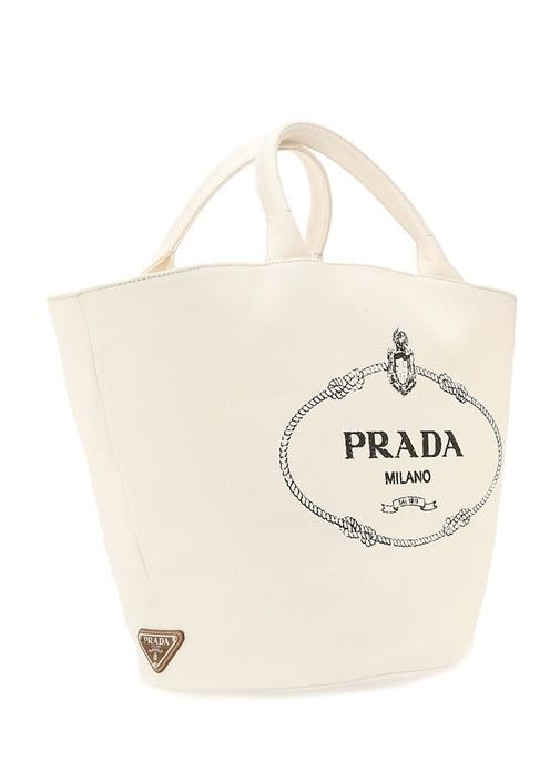 Beyaz Logolu Kanvas Alışveriş Çantası