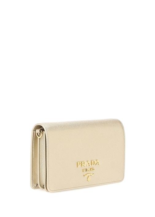 Saffiano Metalik Gold Logolu Kadın DeriÇanta