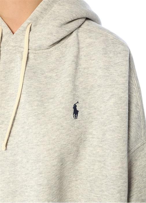 Relaxed Fit Gri Kapüşonlu Sweatshirt