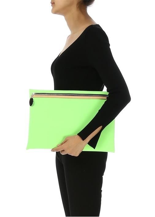 Yeşil Neopren Kadın El Portföyü