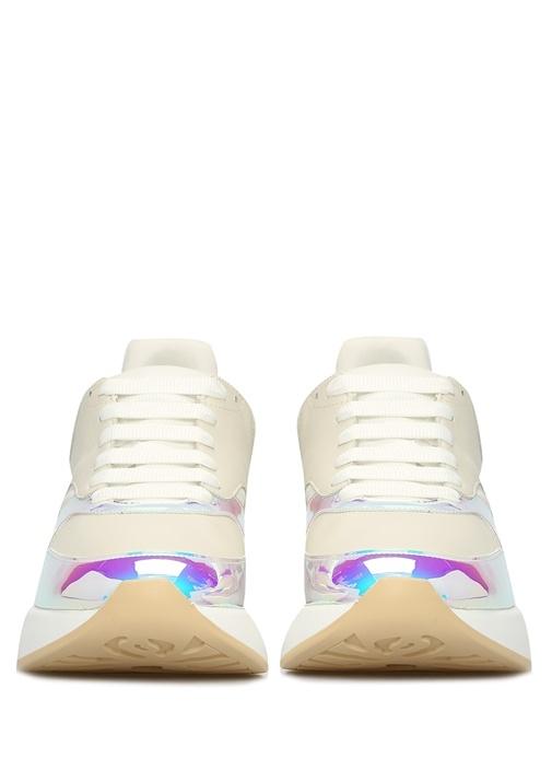Oversize Ekru Hologram Detaylı Erkek Deri Sneaker