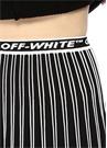Siyah Beyaz Logo Bantlı Pileli Midi Triko Etek