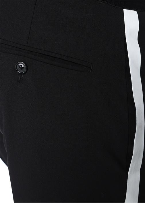 Siyah Beyaz Şerit Detaylı Yün Pantolon