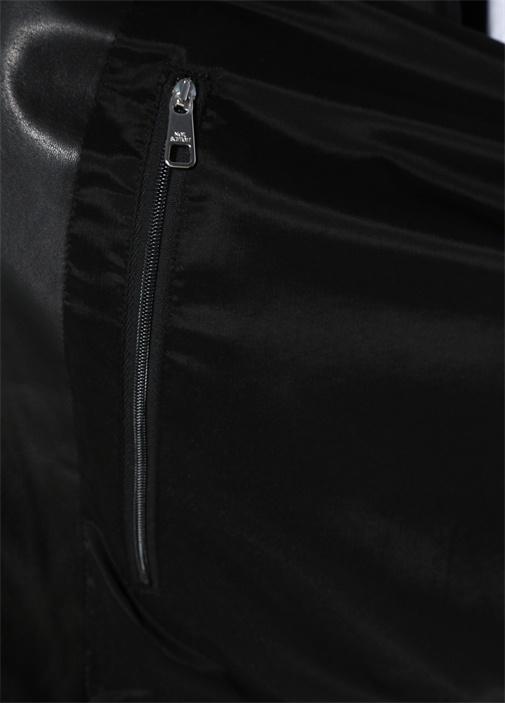 Siyah Dik Yaka Kolları Garnili Deri Mont
