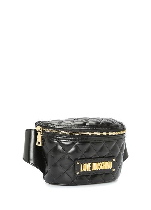 Siyah Gold Logolu Kadın Bel Çantası