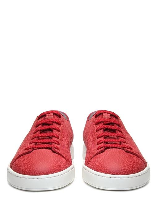 Kırmızı Dokulu Erkek Deri Sneaker