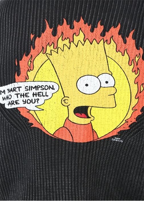 Antrasit Bisiklet Yaka Simpson Jakarlı Sweatshirt