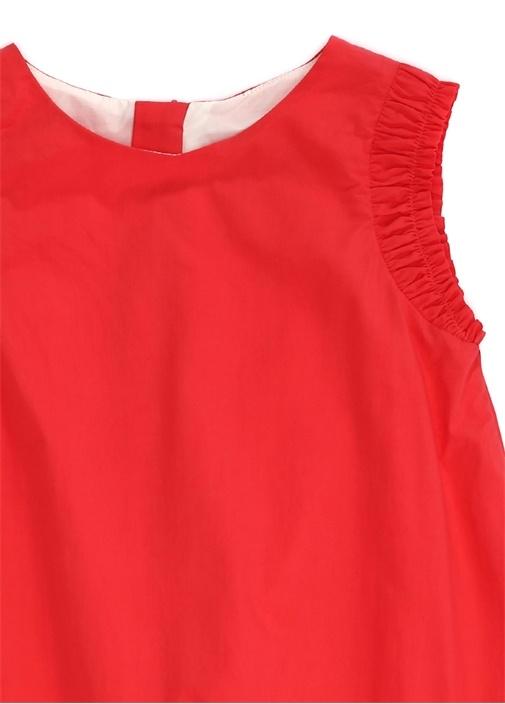 Abito Kırmızı Büzgü Detaylı Kız Çocuk Elbise