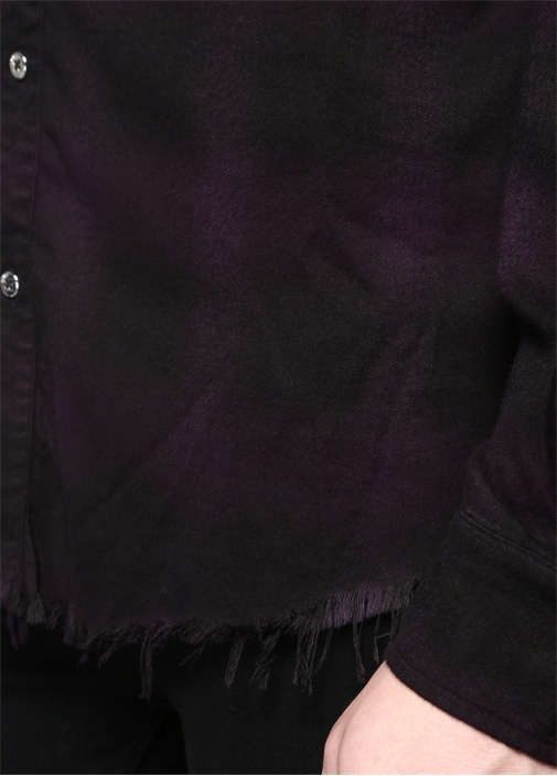 Mor Siyah Polo Yaka Ekoseli Püsküllü Gömlek