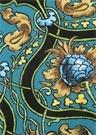 Mavi Ananas Desenli 2li Keten Amerikan Servis