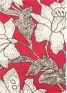Kırmızı Çiçek Desenli 2li Keten Amerikan Servis