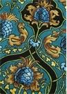 Ananas Mavi Desenli Keten Masa Örtüsü