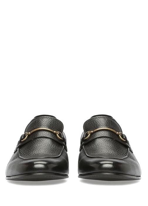 Siyah Metal Toka Detaylı Erkek Deri Loafer