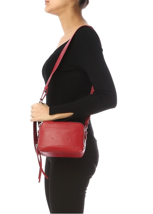 Kathi Kırmızı İnce Troklu Logolu Kadın Deri Çanta