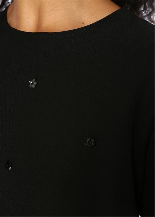 Siyah Çiçek İşlemeli Uzun Kol Mini KrepElbise