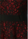 Kırmızı Siyah Uzun Kol Midi Güpür Dantel Elbise